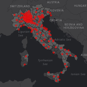 COVID  ITALIA MAPPA CONTAGI IN TEMPO REALE